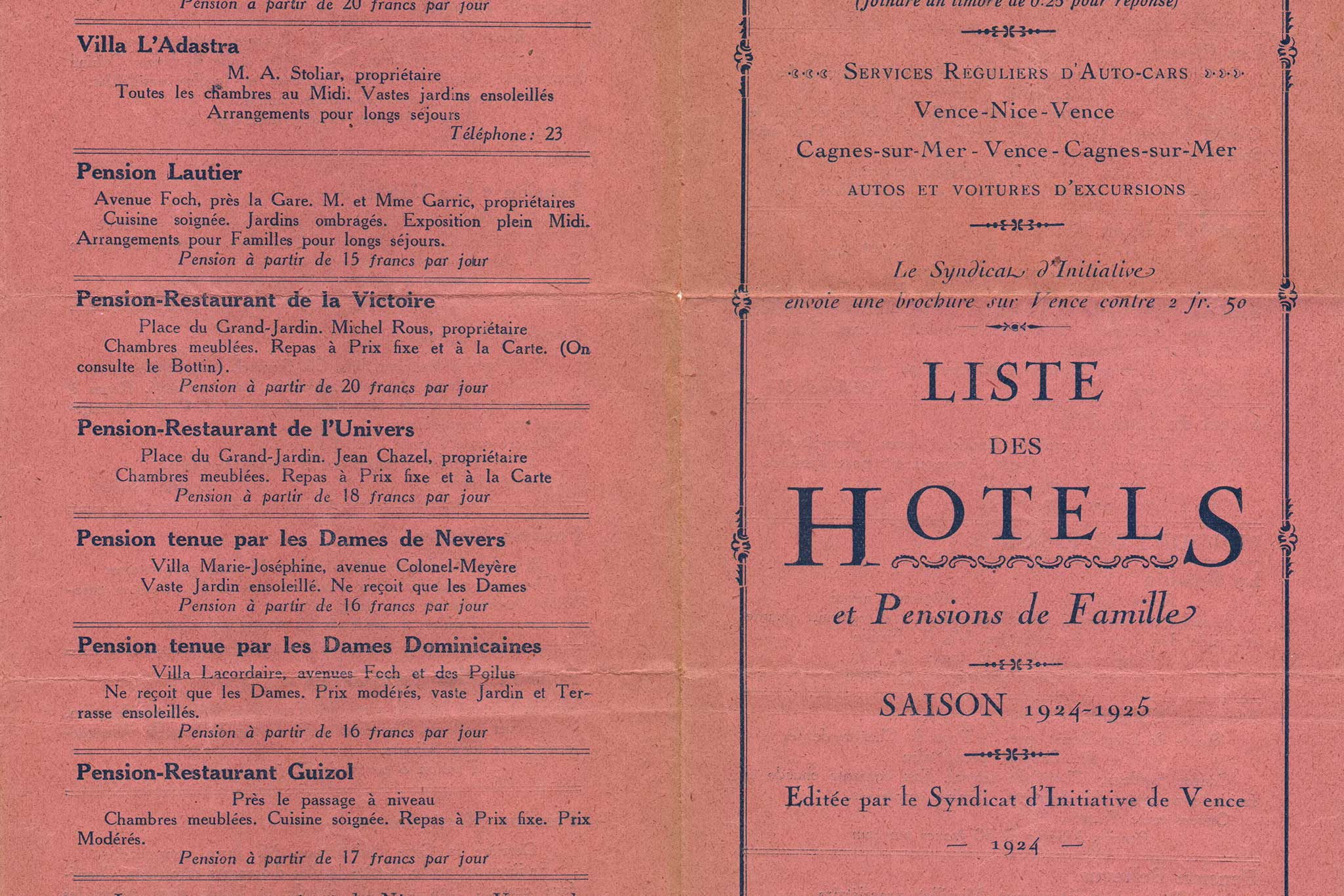 Steve and Carole in Vence - Vence List of Hotels from 1924