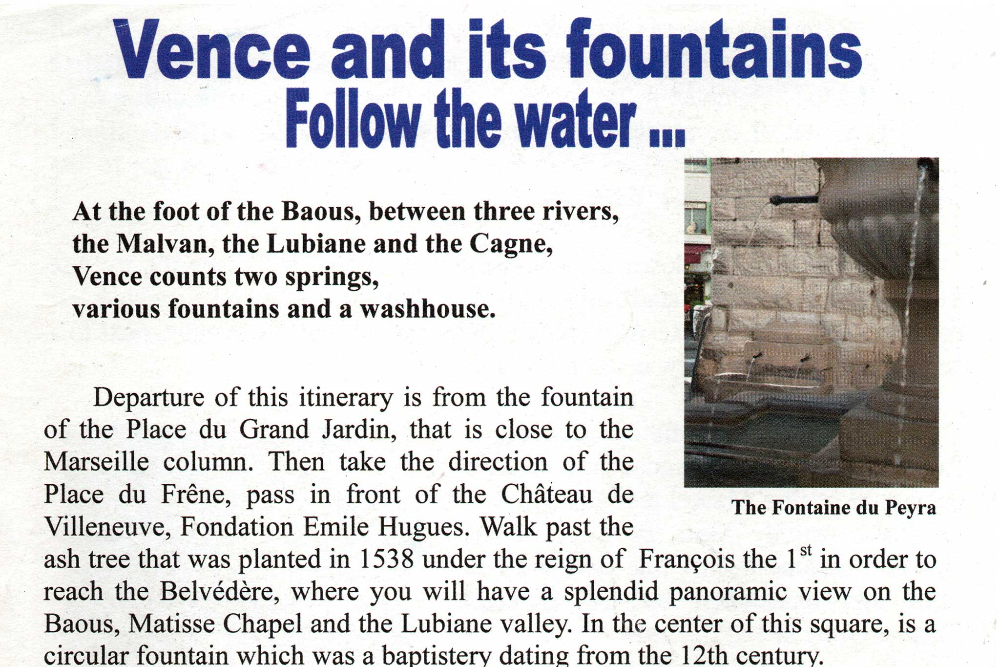 Steve and Carole in Vence - 2010 Vence And Its Fountains Flier